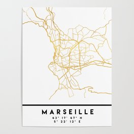 MARSEILLE FRANCE CITY STREET MAP ART Poster