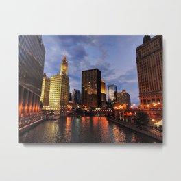 Chicago River Twilight 001 Metal Print