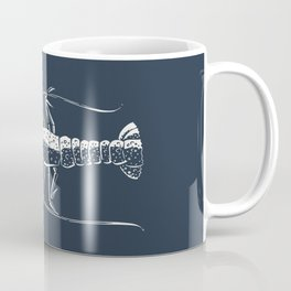 White lobster on navy Coffee Mug