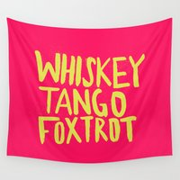 whiskey Wall Tapestries featuring Whiskey Tango Foxtrot - Color Edition by Leah Flores