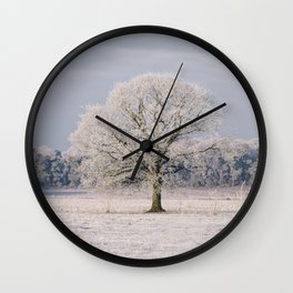 Tree covered in a thick hoar frost. Norfolk, UK. Wall Clock