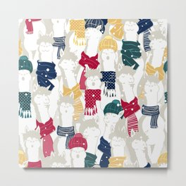 Happy llamas Christmas choir Metal Print