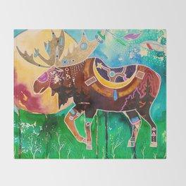 Fantastic Moose - Animal - by LiliFlore Throw Blanket