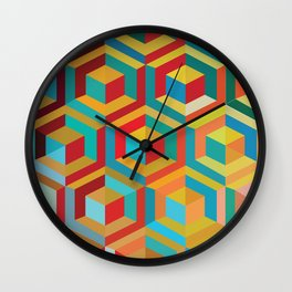 Lonely Cubes In Rooms Wall Clock