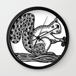 Squirrel Boho style Black and White Wall Clock