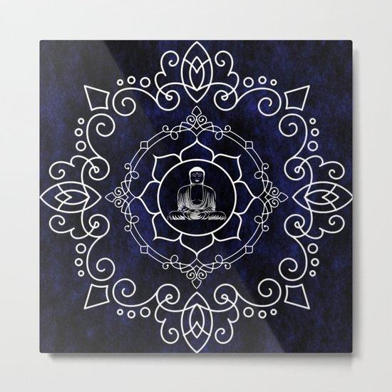 Buddha Lotus Mandala Metal Print