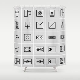 icons electrical symbols Shower Curtain