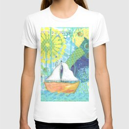 Sailboat Painting, Child's Room Decor, Sailing Art, Lake Art, Blue, Green, Yellow, Orange, Nautical T-shirt