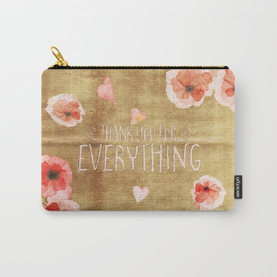 Thank you for everything- Vintage  Flowers Roses floral Illustration Carry-All Pouch