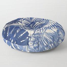 Cobalt Blue Tropical Leaf Pattern Floor Pillow