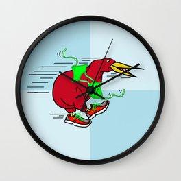 Kiwi Wearing Running Shoes Wall Clock