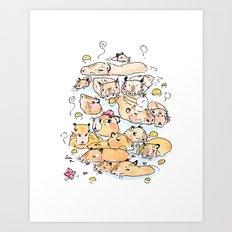 Wild family series - Capybara Art Print