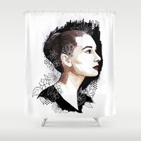 audrey hepburn Shower Curtains featuring Audrey Hepburn by Jackie Sullivan