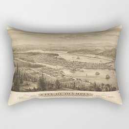 Birdy's Eye View of Olympia, East Olympia and Tumwater, Puget Sound, Washington State (1879) Rectangular Pillow
