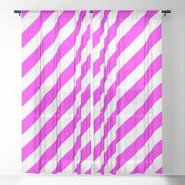 Diagonal Stripes (Magenta & White Pattern) Sheer Curtain