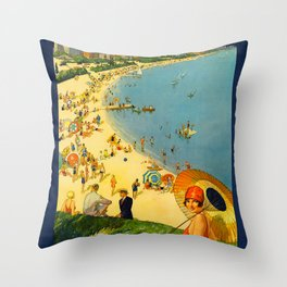Chicago Vacation City, 1920s Travel Poster Throw Pillow
