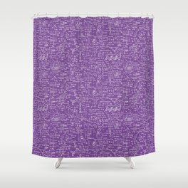 Physics Equations on Purple Shower Curtain