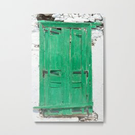 The Old Green Window on Milos Metal Print