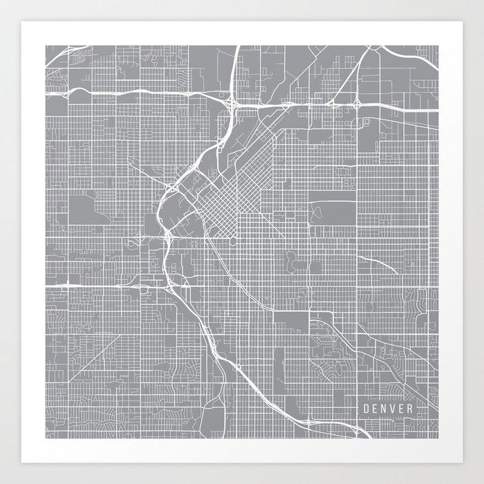 Colorado In Usa Map.Denver Map Colorado Usa Pewter Art Print By Mainstreetmapscolor