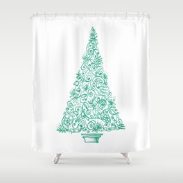 green Christmas tree in New Zealand Shower Curtain