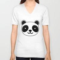 racing V-neck T-shirts featuring Racing Panda by XOOXOO