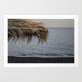 Black Sand - Santorini Beach  Art Print