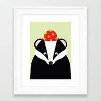 badger Framed Art Prints featuring Badger by onelittledickybird