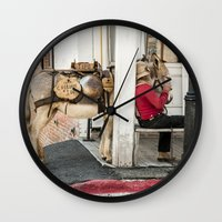 donkey Wall Clocks featuring Donkey by Joëlle Paquet