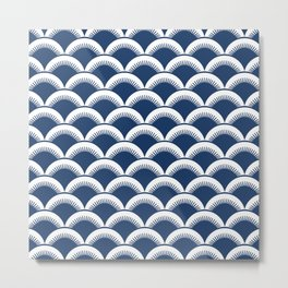 Japanese Fan Pattern 133 Navy Blue Metal Print