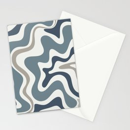Liquid Swirl Abstract Pattern in Neutral Blue Gray on Off White Stationery Cards