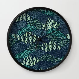 Dashes and dots in blue-green // abstract pattern Wall Clock