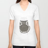 animals V-neck T-shirts featuring space cat by Louis Roskosch
