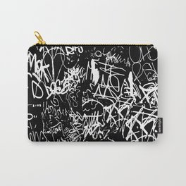 Black and White Graffiti Abstract Collage Print Pattern Carry-All Pouch