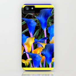 BLUE-BLACK MODERN ABSTRACT BLUE & GOLD CALLA LILIES iPhone Case