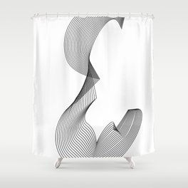 """""""Linear Collection"""" - Minimal Letter E Print Shower Curtain"""