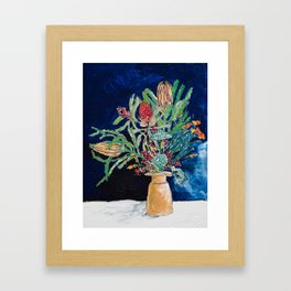 Yellow and Red Australian Wildflower Bouquet in Pottery Vase on Navy, Original Still Life Painting Framed Art Print