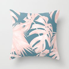 Palm Leaves Pink Coral on Deep Ocean Blue Throw Pillow