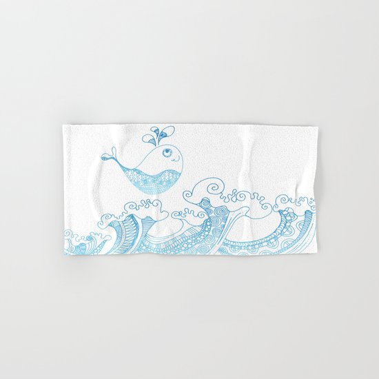 Doodle fish jumping out of the water- pattern Hand & Bath Towel