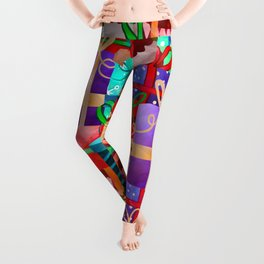 Christmas Presents Galore - Bright Neon Christmas Gift Pattern Leggings