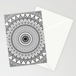 black and white mandala Stationery Cards