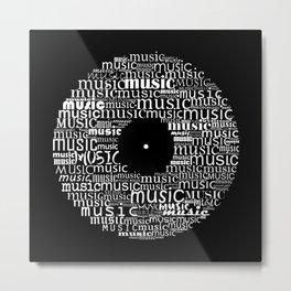 Typographic vinyl record - inverted Metal Print