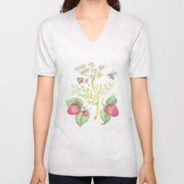 Strawberries and Caraway Unisex V-Neck