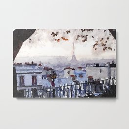 Rainy Day in Paris. Metal Print