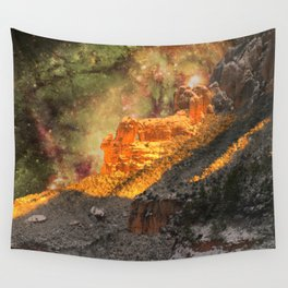 Sacred Mountains (galaxy sky) Wall Tapestry