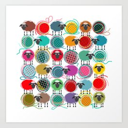 Bright Sheep and Yarn Pattern Art Print