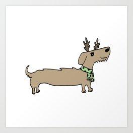 Dacshund Reindeer Art Print