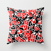 maori Throw Pillows featuring Maori Kowhaiwhai Patchwork Pattern by mailboxdisco