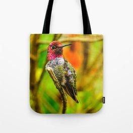 Pink Throat Hummingbird Tote Bag