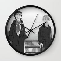 johnlock Wall Clocks featuring sherlock paperman by Marie Mikolay