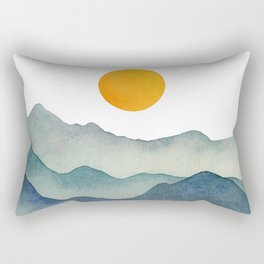 Mountain Range Silhouette – Blue & Yellow Rectangular Pillow